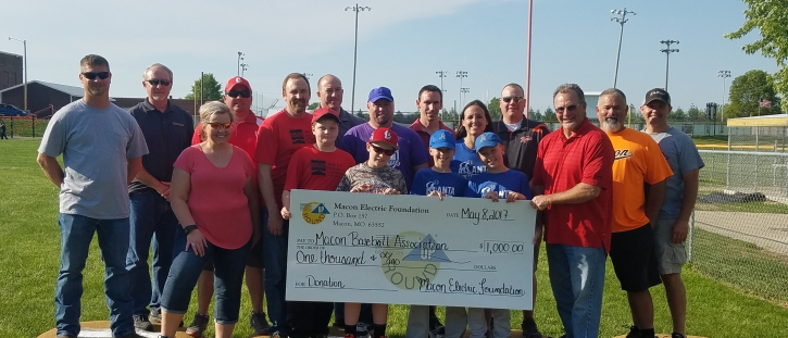 Macon Electric Foundation Donates to local Baseball Associations